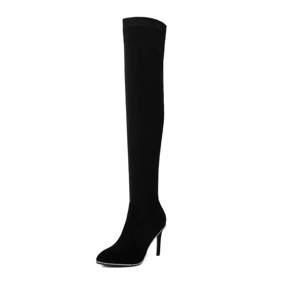 YaXuan Damen Lange Stiefel, 2019 Sexy Spitze Stiletto High Heel über dem Knie war dünn Nachtclub Mode Ritter Damen Stiefel Stretch Stiefel (Farbe : Schwarz, Größe : 36)