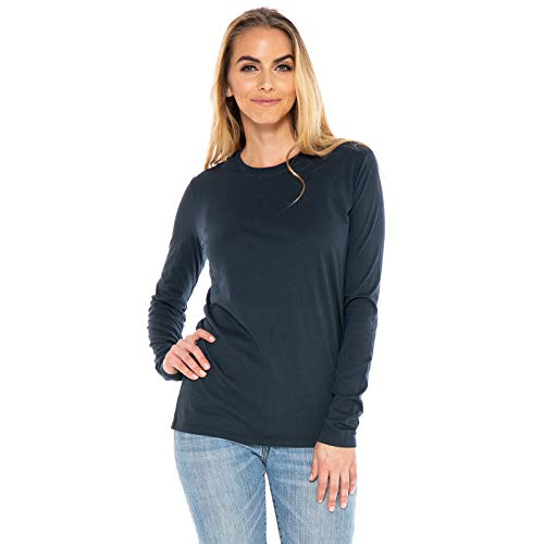 Women's Designer T-Shirt Lightweight Boy Fit Long Sleeve Crew Neck Organic Cotton Pre-Shrunk Embroidered - Made in USA (Navy Blue, Large)