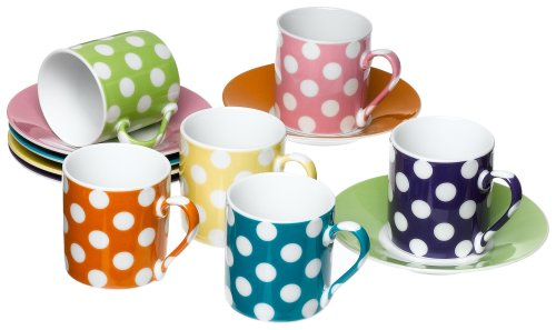 Classic Coffee & Tea White Dots Espresso Cups & Saucers, Set of 6, Assorted