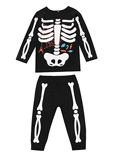 Little Fancy Unisex Boys Girls Kids Pajama Skeleton Costume Outfit Pants Set (8T) Black