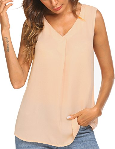 Finejo Women's Summer Chiffon Pleated V-Neck Sleeveless Solid High Low Hem Tank Tops (Solid Sleeveless Shirt)