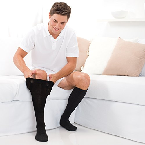 Core-Spun 30-40mmHg Firm Graduated Compression Support Knee High Socks (Black, Large) by Core-spun (Image #2)