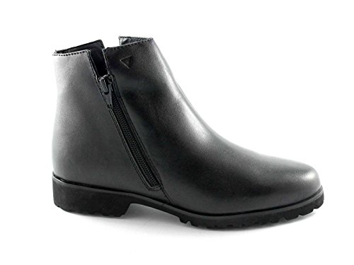 Cinzia Suave IV5472 Zapatos Negros Mujer Botas de Cremallera Lateral Doble Nero