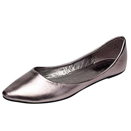 Womens Pointed Toe Glitter PU Leather Slip On Flat Shoes Gray Tnk0Jxx3p