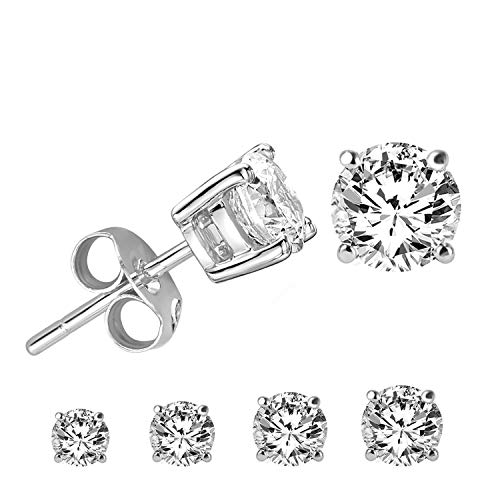 LIEBLICH Round Cut Cubic Zirconia Stud Earrings Stainless Steel Yellow Gold Plated Earrings Set 4 Pairs 3mm-6mm