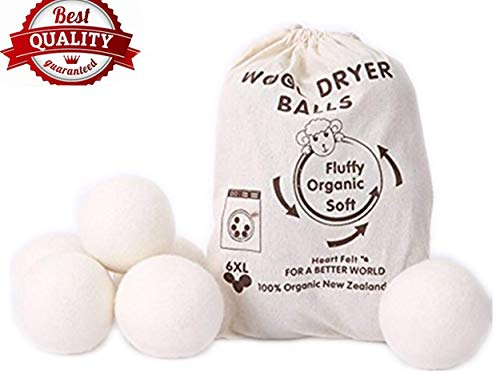 Wool Dryer Balls by MarvelousRule, 6 Pack XL Organic Wool, Non-Toxic, Reusable, X-tra Large. Reduces Drying Time and Chemical Free. Natural Fabric Softener(White)