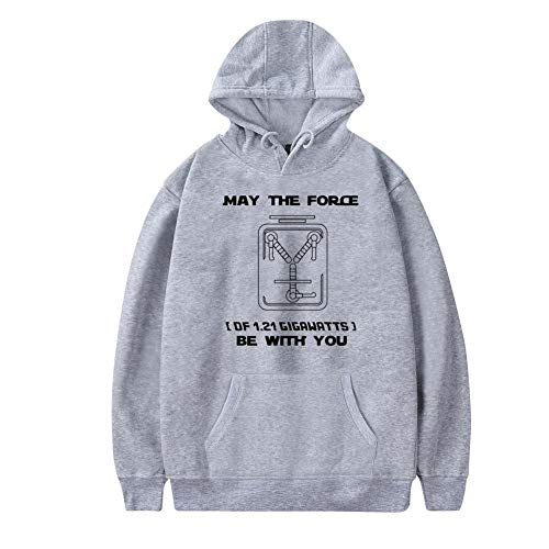 Aharyoa Mens Hoodies,Funny May The Flux be with You! Fashion Printed Plush Pocket Sweater,Soft and Warm XL Gray ()