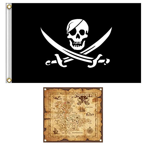 Easy Halloween Props (Shmbada Jack Rackham Skull Pirate Flag Jolly Roger Banner with Treasure Map Set for Pirate Party, Double Stitched Polyester Pirate Banner with Brass Grommets for Kids)