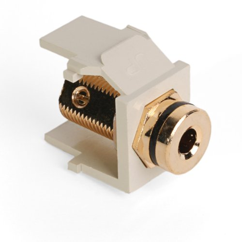 (Leviton 40837-BIE QuickPort Banana Jack Adapter, Gold-Plated with Black Stripe, Ivory)