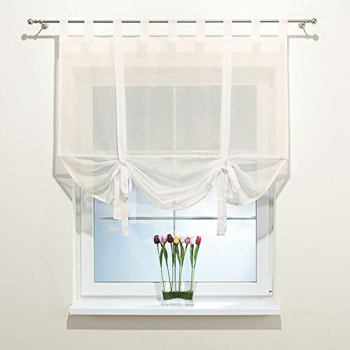 Dekoria Raffrollo Roma mit Bambusstange ohne Bohren Faltvorhang Raffgardine Wohnzimmer Schlafzimmer Kinderzimmer 180 × 180 cm Ecru Raffrollos auf Maß maßanfertigung möglich