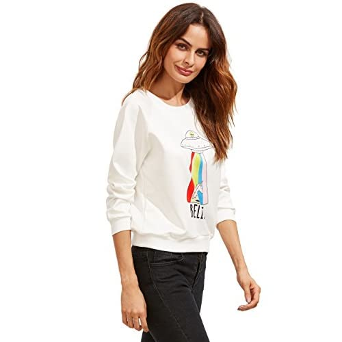 ad7b250a6eb7a ROMWE Women s Casual Long Sleeve UFO Print Pullover Cute Sweatshirt(One  Size) durable modeling