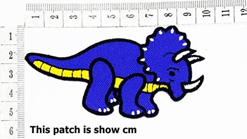 Blue Dinosaur Species eat Vegetables as a Primitive Food in The Past Thousand Years Cartoon Chidren Kids Embroidren Iron Patch/Logo Sew On Patch Clothes Bag T-Shirt Jeans Biker Badge Applique