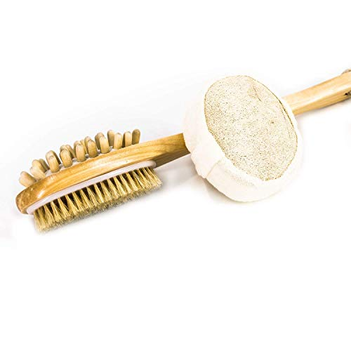 Nugilla Wooden Double Sided Bath Shower Brush Massage with Long Handle For Back Scrubber + Loofah Rub Sponge