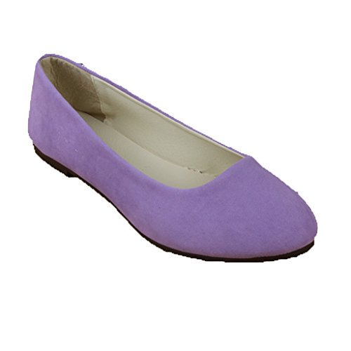 Lieber Zeit Frauen Flache Schuhe Bequeme Slip On Spitz Ballerinas Helles Lila