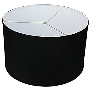 "FenchelShades.com 18"" Top Diameter x 18"" Bottom Diameter 11"" Height Cylinder Drum Lampshade USA Made (Black)"