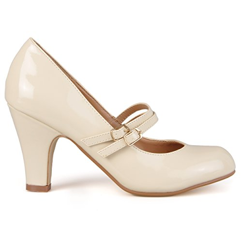 Journee Samling Kvinners Mary Jane Kunstlær Pumper Beige Patent Mary Jane