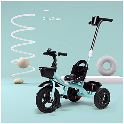 GSDZSY - Children Tricycle with Detachable Push Rod and Rubber Wheel, Carbon Steel Frame and Aluminum Alloy Wheel,18 Months - 5 Years Old ()