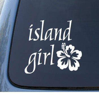 Island girl hawaii hibiscus car truck notebook vinyl decal sticker
