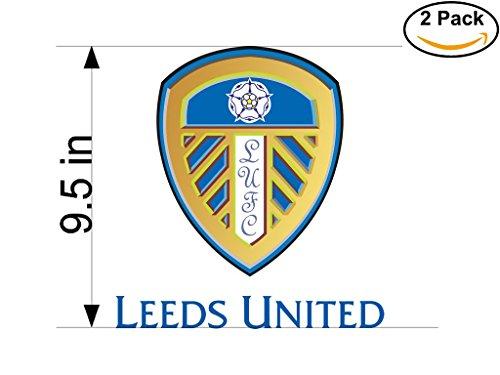 Leeds United AFC United Kingdom Soccer Football Club FC 2 Stickers Car Bumper Window Sticker Decal Huge 9.5 inches by CanvasByLam