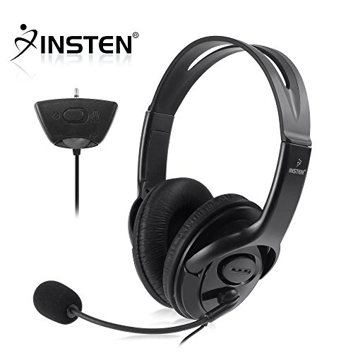 insten headset headphone with mic compatible with xbox 360 wireless controller black virtual. Black Bedroom Furniture Sets. Home Design Ideas