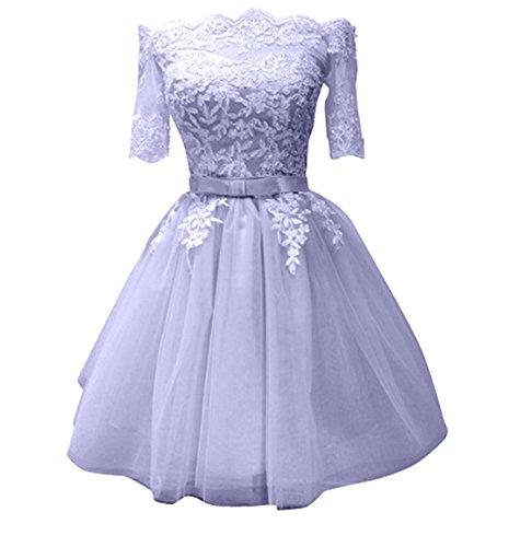 Damen Jugendweihe Charmant Tanzenkleider Kurzes Abendkleider Spitze Promkleider Cocktailkleider Mini Kleider Partykleider Lilac R8dwqZ