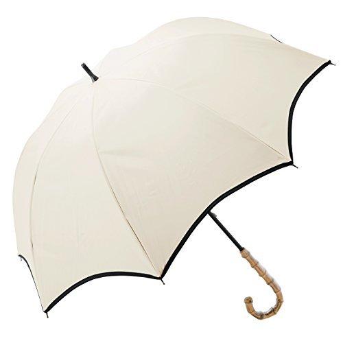 【Rose Blanc】100%完全遮光 日傘 パイピング ミドルサイズ 55cm (ベージュ×ブラック) B06XTKXR4C ベージュ×ブラック ベージュ×ブラック