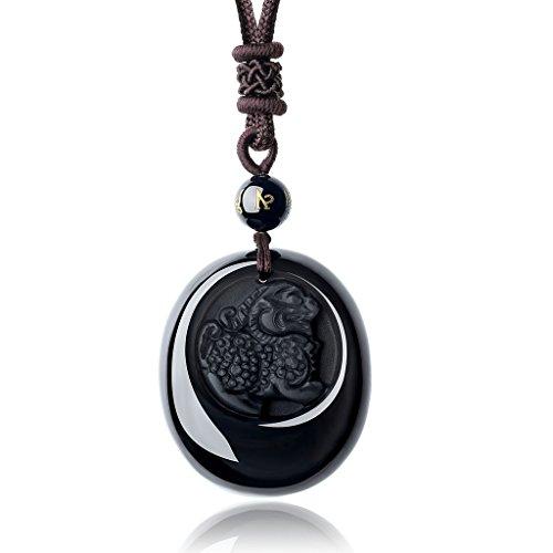 COAI Lucky Protective Kylin Dragon Amulet Black Obsidian Stone Pendant Necklace for Men Women ()