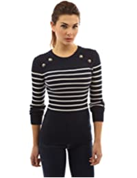 PattyBoutik Women's Crewneck Striped Military Sweater