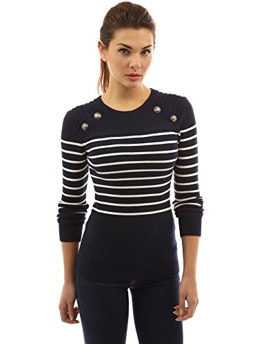 PattyBoutik Women's Crewneck Striped Military Sweater (Navy Blue and Ivory M)