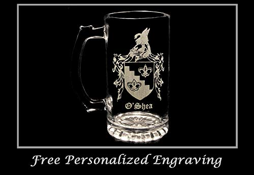 O'Shea Irish Family Coat of Arms 16oz Beer Stein: Free Shipping & Personalized - Beer Personalized Irish