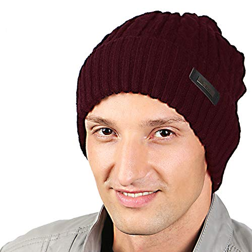 HIG Mens Winter Hat Warm Comfortable Soft Knit Beanie Hats Lined with Fleece (Wine Red)