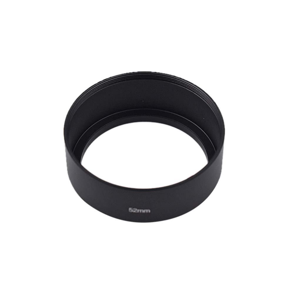 Ogquaton Lens Hood C/ámara Digital Standard Lens Hood Metal DSLR Camera Lens Hood Accesorios para c/ámara 52 mm Negro 1 Pcs