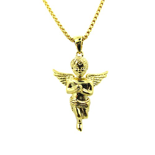(Rob'sTees Baby Angel Cherub Micro Chain Set 18k Gold Over Brass Piece Mini Charm Pendant Box Chain Necklace)