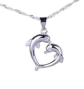 EOZY 25x20mm Joyería 925 Plata Dos Delfín Conjunto Una Corazón Colgante Y Cadena De 18 Pulgadas