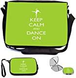 Rikki Knight Keep Calm and Dance On Lime Green Color Design COMBO Multifunction Messenger Laptop Bag - with padded insert for School or Work - includes Wristlet & Mirror