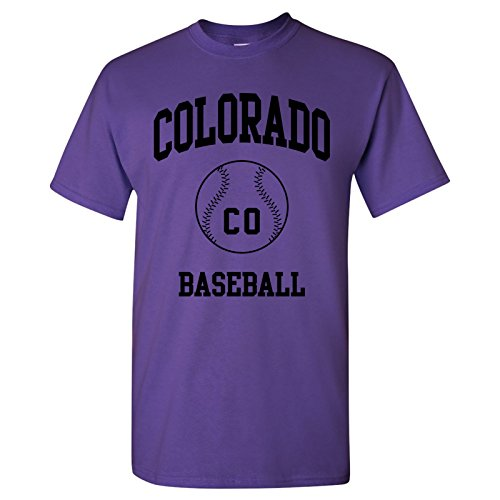 Colorado Classic Baseball Arch Basic Cotton T-Shirt - X-Large - Purple ()
