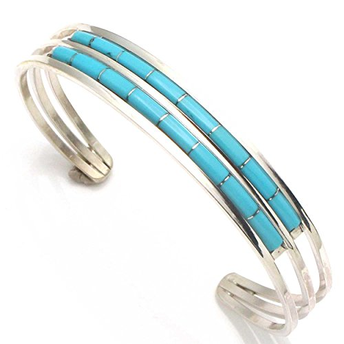 L7 Enterprises Turquoise 2 Row Zuni Inlay Bracelet by A & L Wallace ()