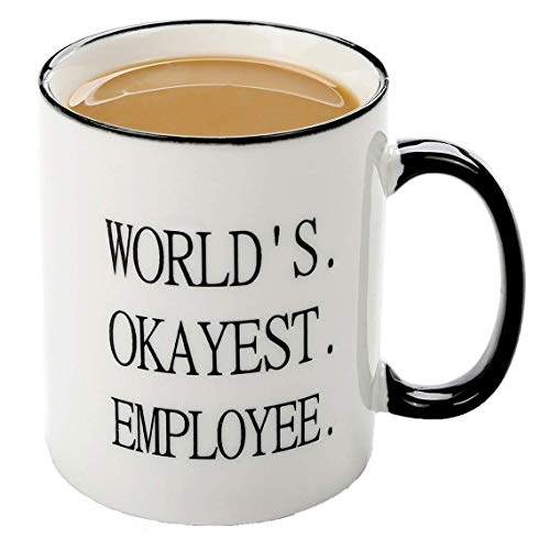 FUNNY MUG-Worlds Okayest Employee-11 OZ ceramic Coffee Mugs-Christmas Perfect Present for Coworker, Boss. Work Appreciation Award,thank you gifts for employees]()