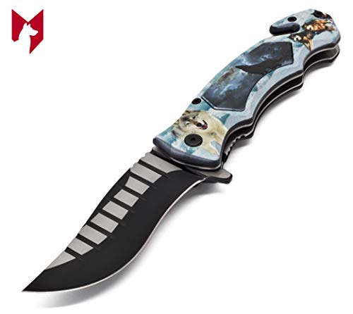 Foxfend 4.5' Closed Stainless Steel Blade Folding Tactical Pocket Knife with Seat Belt Cutter & Pocket Clip for Outdoor Tactical Survival and Everyday Carry (Wolf)