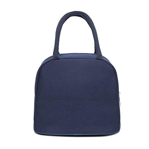 Millya lienzo almuerzo Tote bolso asa superior con cremallera caja de almuerzo Picnic Alimentos Frutas Carrier, azul oscuro, talla única azul oscuro