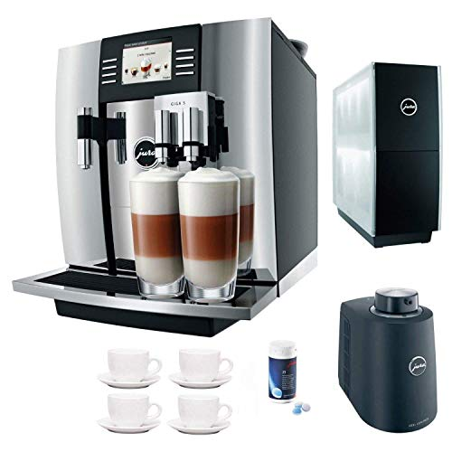 Jura Giga 5 Cappuccino & Latte Macchiato System + Jura Cup Warmer Black Stainless Steel and Jura Cool Control Milk Cooler + Accessory Kit (Silver)