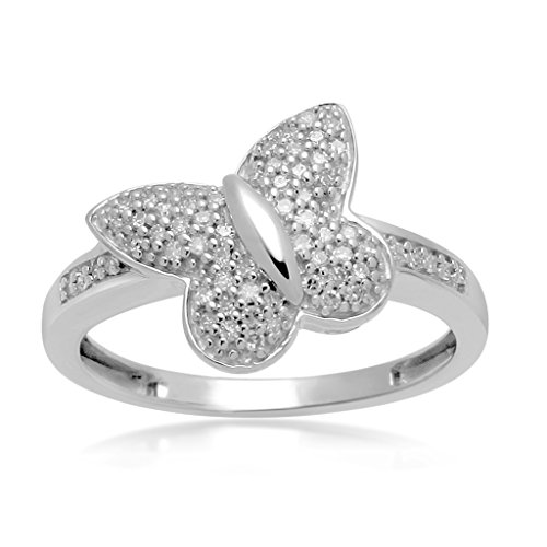 Diamond Ring Cut Butterfly (Jewelili Sterling Silver Diamond Butterfly Ring, Size 7)