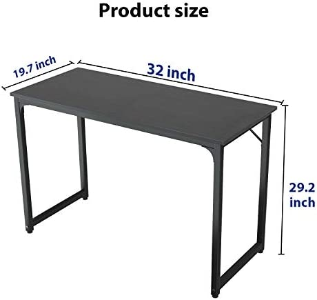 Small Computer Desk 32 Inch, Foxemart Small Writing Computer Desk for Small Space, Sturdy Laptop Study Desk Table Modern Simple Style Home Office, Black