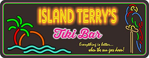 Personalized Tiki Bar Sign With Neon Effect Font & Your Custom Name - Tropical Palm Tree Tiki Bar Decor - Beach Bar Wall Art - Fun Sign Factory Original
