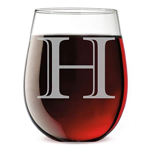 - Monogram Etched 17oz Stemless Wine Glass (Letter H)