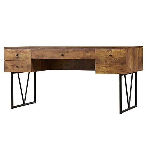 Granite 4 Drawer Writing Desk Antique Nutmeg Black Base Finish