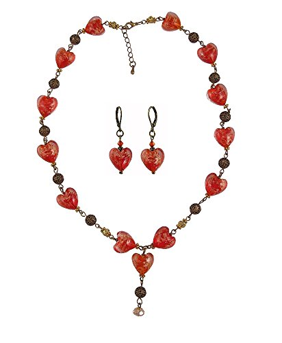 A-Ha - Glass Hearts Necklace and Earring Set