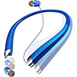 Bluetooth Headphones Retractable,Hsility Sport Wireless Stereo Earbuds Dual In Ear Sweatproof Noise Cancelling Earphones For iPhone Android