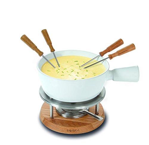 Boska Holland Cheese Fondue Set, 1 L White Porcelain Pot with Oak Wood Base, Life ()