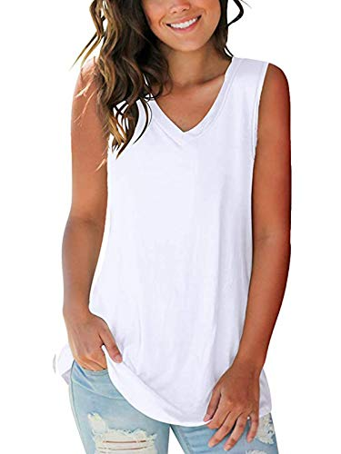 SAMPEEL Womens Trendy Basic Tank Tops Womens Sleeveless V Neck Tee Shirts